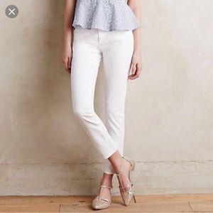 AG White Denim, Size 32R, Slim Straight Ankle